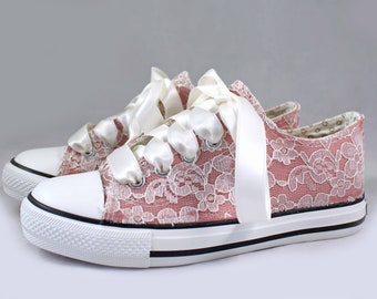 Flower Girl Blush wedding Sneakers -  Lace wedding sneakers - kids wedding sneakers