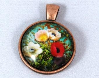 Poppy Necklace  - Copper Glass Copper necklace