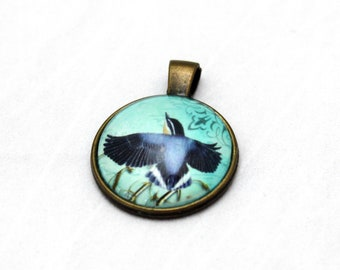 Blue Bird Necklace  - Blue Glass Brass necklace