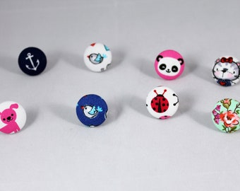 1 Handmade Fabric Button Ring -Fabric Covered Button Ring