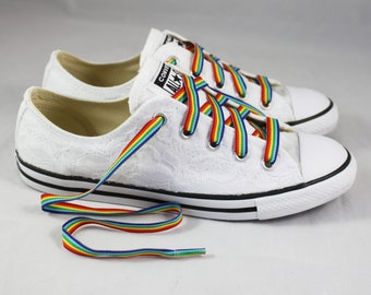 Rainbow Lace Bridal Converses --Lace Converse -- Wedding Tennis shoes  - Wedding Converse