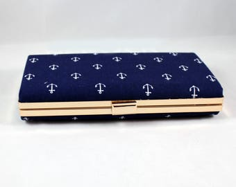 Large Navy box clutch - Anchor Box Clutch