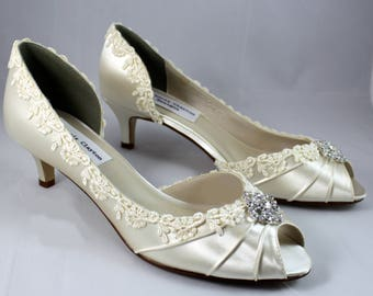 "Ivory lace heels 1.75""-The Corrisa- low heel SALE Ready to ship Size 7.5"