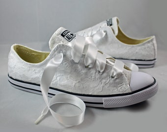 Ready to ship White Lace Converses  Size 9--Bridal Converses size 9--  Wedding Tennis shoes  -- Custom Converses