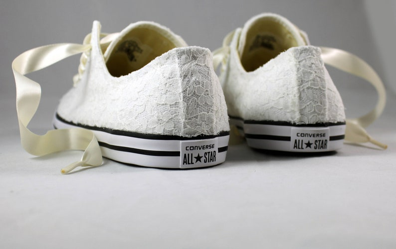 031ab2ac13d48 Ivory Lace Wedding Converse -Ivory Lace Bridal Converses --Ivory Lace  Converse -- Wedding Tennis shoes