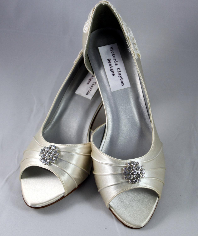 Ivory Wedding Shoes -SALE Wedding Shoe Low Heel Size 8.5
