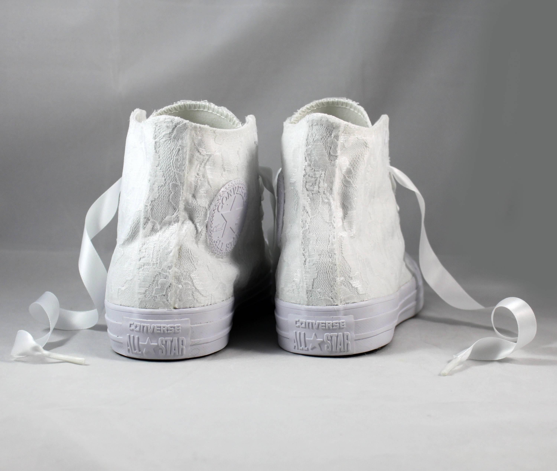 9df266a8983 Lace High Top Converses --Bridal Converses -- Wedding Tennis shoes
