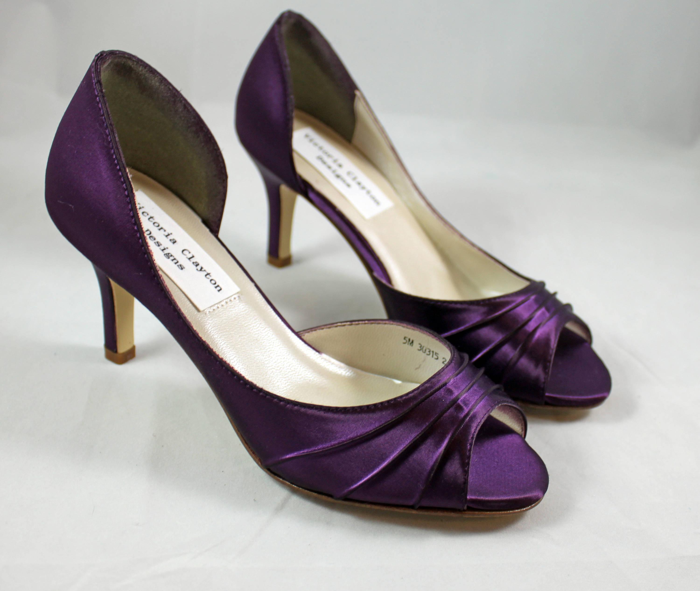 MOB Purple Wedding Shoes low heel SALE -- 2.5 inch heel - Aubergine ...