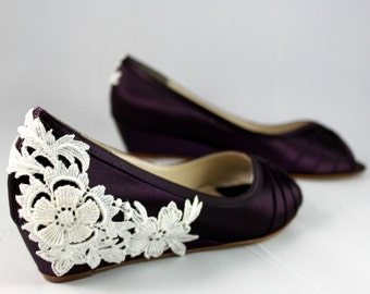 Purple Wedding Shoes Wedge Low heel -- 1 inch wedge shoes Ivory lace heel- Size 6.5