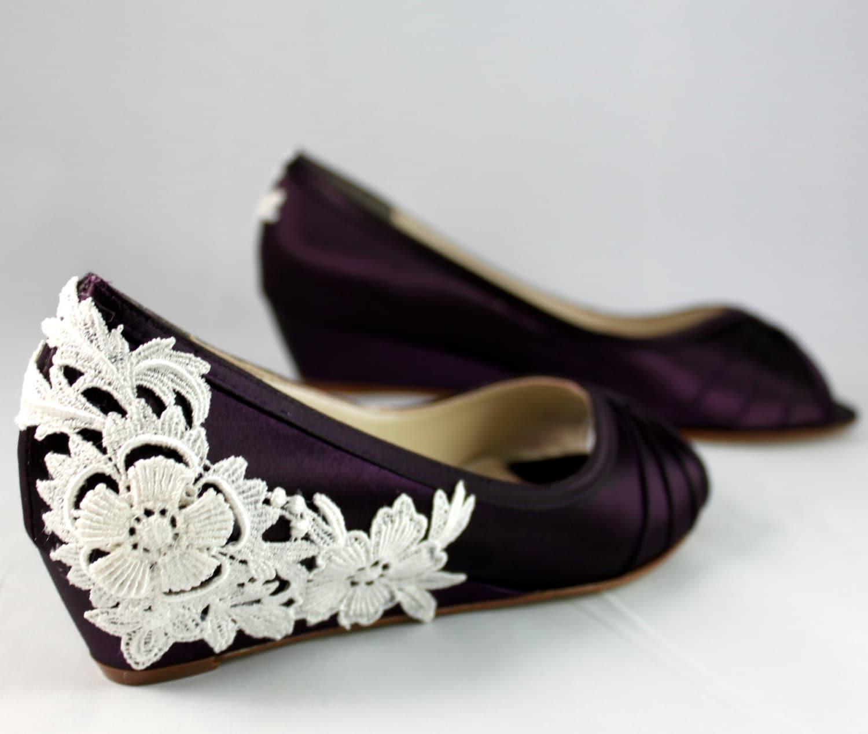 Purple Wedding Heel.Purple Wedding Shoes Wedge Low Heel 1 Inch Wedge Shoes Ivory