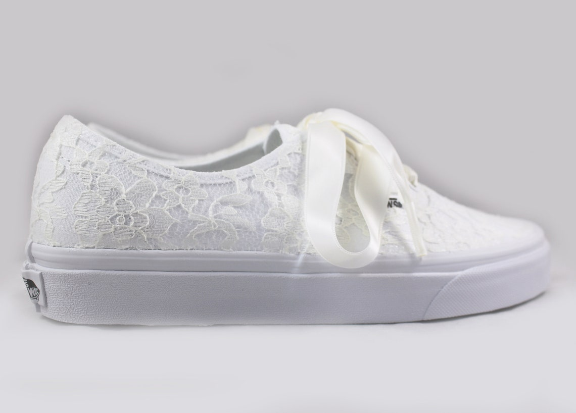 Ready to ship size 7.5 Ivory Lace Bridal Vans  --Lace Vans -- Wedding Tennis shoes  - Wedding Converse