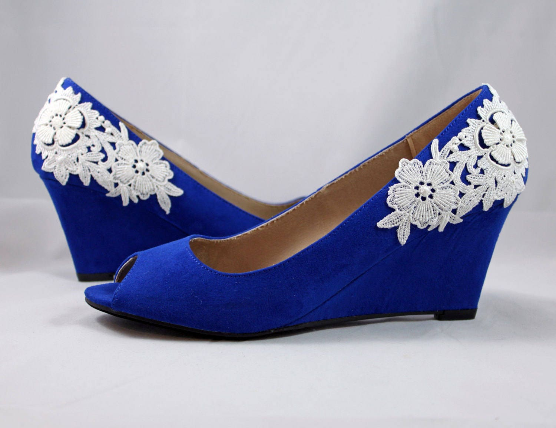 wedding wedge shoes SALE- cobalt blue