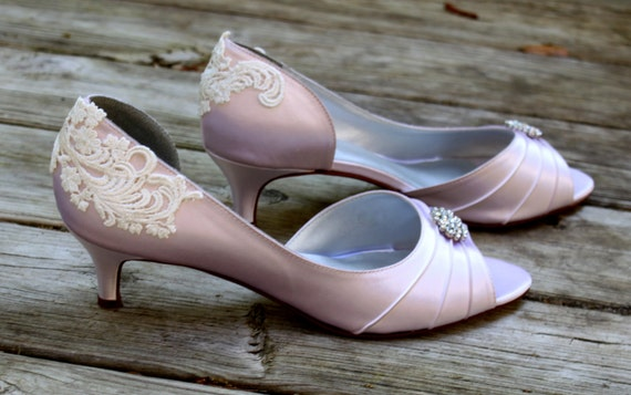 Pink Wedding Shoes Low Heel: Items Similar To Wedding Shoes