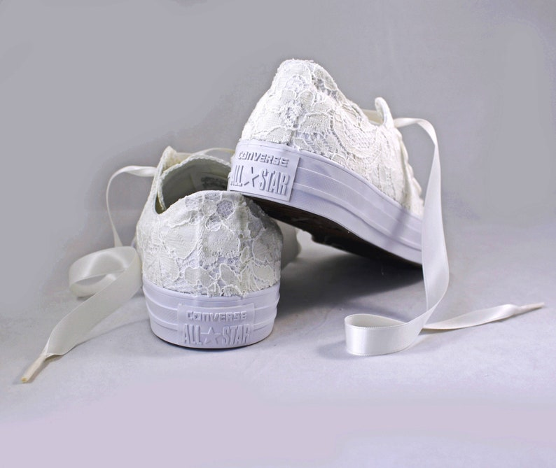 78a276394f34 Ivory Lace Bridal Converses Ivory Sequin Lace Converse