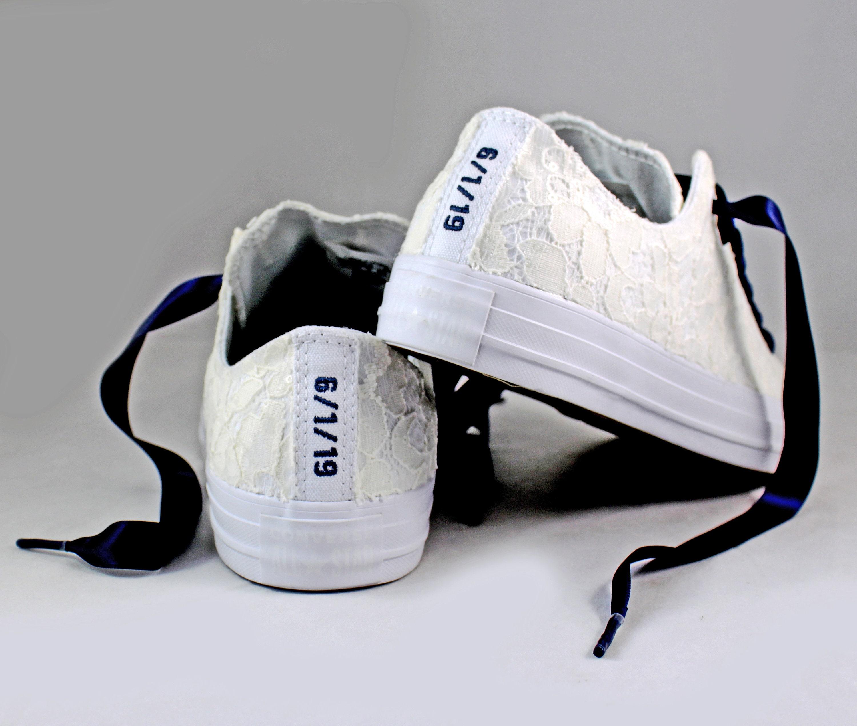 ef589fa60a33ca Custom Date Lace Bridal Converses -- Ivory Lace Navy Converse ...