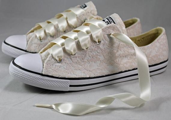 Bridal Tennis Lace Wedding Wedding Champagne shoes Champagne Lace Converses Lace Champagne Converse Converse 4j53ALqR