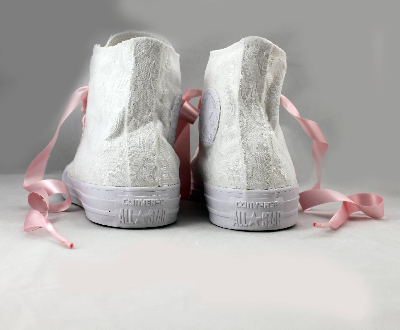 82705ef7ca2a Lace High Top Bridal Converses --Bridal Blush Converses -- Wedding ...