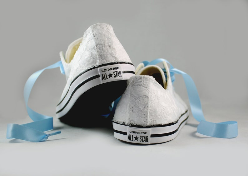 653d062fa9af7 White Bridal Converses --Lace Converse -- Wedding Tennis shoes - Wedding  Converse