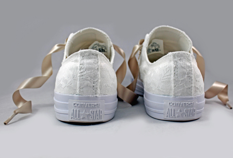 Monochrome White Bridal Converses Lace Converse Wedding Tennis shoes Wedding Converse