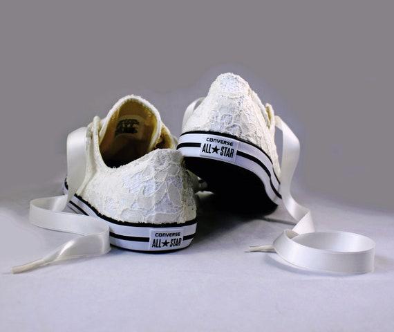 b9f96cc025e4 Ivory Wedding Converse Sequin Lace Ivory Lace Bridal