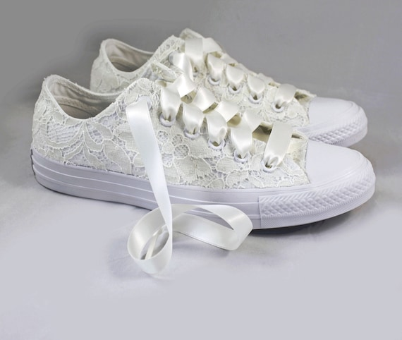 Ivory Lace Bridal Converses Ivory Sequin Lace Converse Wedding Tennis shoes Wedding Converse