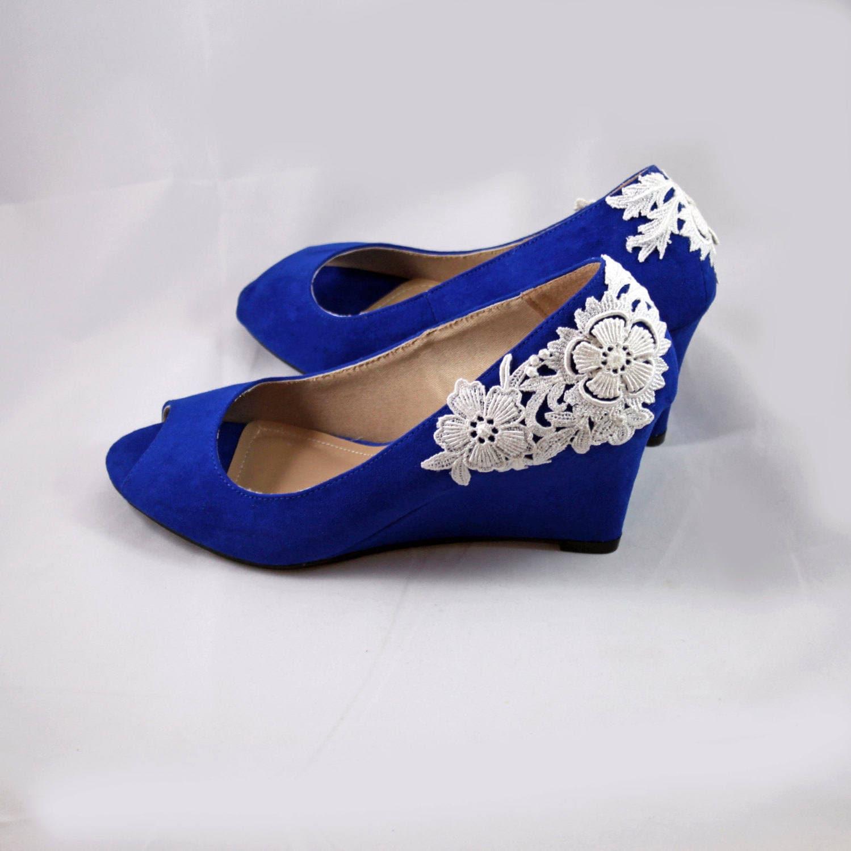 Royal Blue Wedges Size 9.5