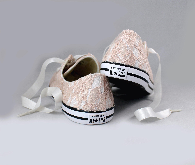 eb23c217e239 Blush Lace Wedding Converse -Blush Lace Bridal Converses --Floral ...