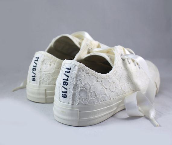 Ivory Bridal Converses Egret Ivory Sequin Lace Custom Text Ivory Converse Wedding Tennis shoes Wedding Converse