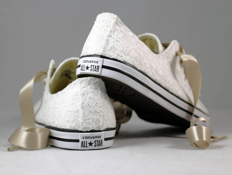 6b19f8a4e01a6 Ivory Lace Wedding Converse -Ivory Lace Bridal Converses --Ivory ...