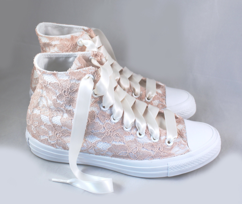 Blush Lace High Top Converses Bridal Converses Wedding Tennis shoes Wedding Converse High Top Custom Converses