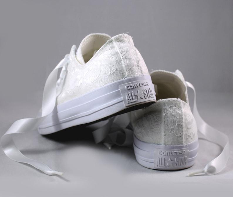 a746fd3538b47 White Lace Bridal Converses --Lace Converse -- Wedding Tennis shoes -  Wedding Converse