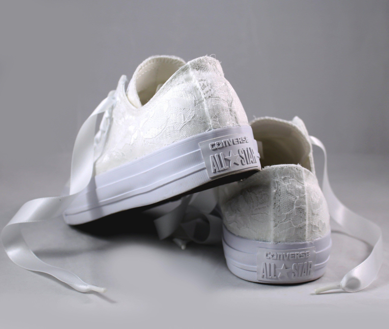 c8f666205d63 White Lace Bridal Converses Lace Converse Wedding Tennis