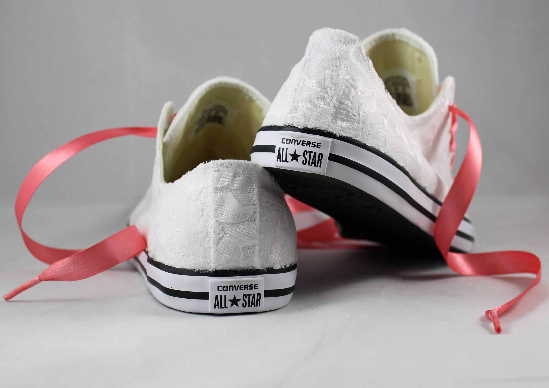 d8e5e0af322a0 Bridal Coral Converses --Lace Converse -- Coral Wedding Tennis shoes