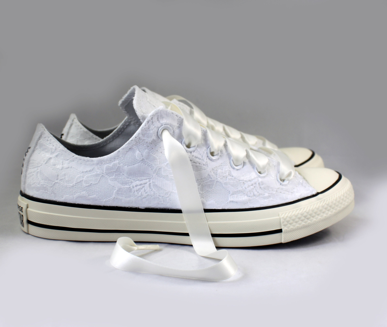 b2928888137c Custom White Lace Bridal Converses -- Wife Lace Converse -- Wedding Tennis  shoes - Wedding Converse