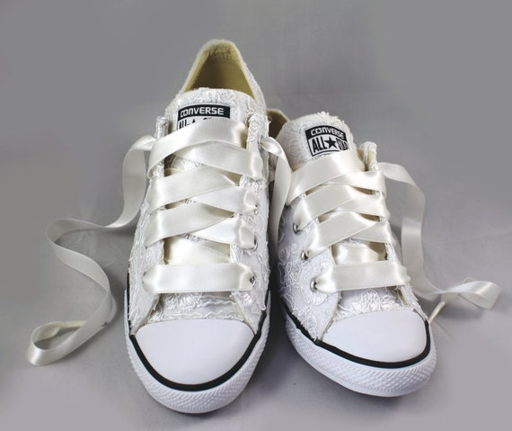 Floral Lace white Converse Lace Converse white Bridal Floral white Lace Wedding Converses shoes Wedding Tennis P8kO0wn