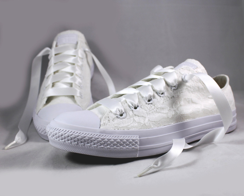 298725d862857 White Lace Bridal Converses --Lace Converse -- Wedding Tennis shoes ...