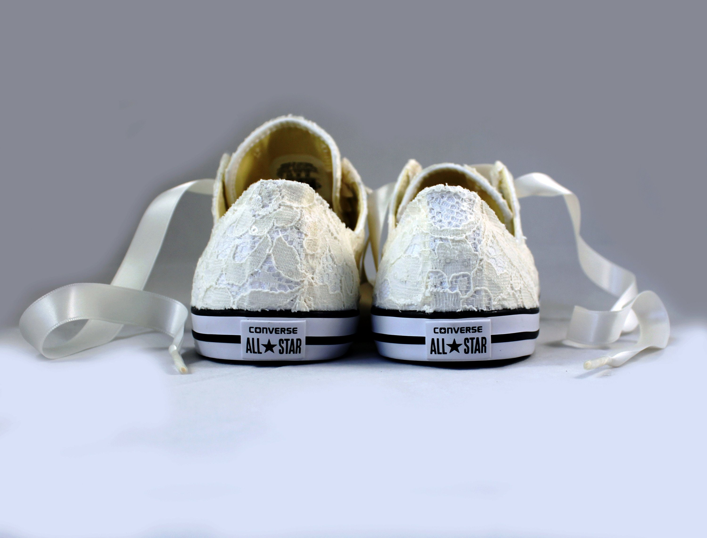 85e908d3113c Ivory Wedding Converse - Sequin Lace Ivory Lace Bridal Converses ...