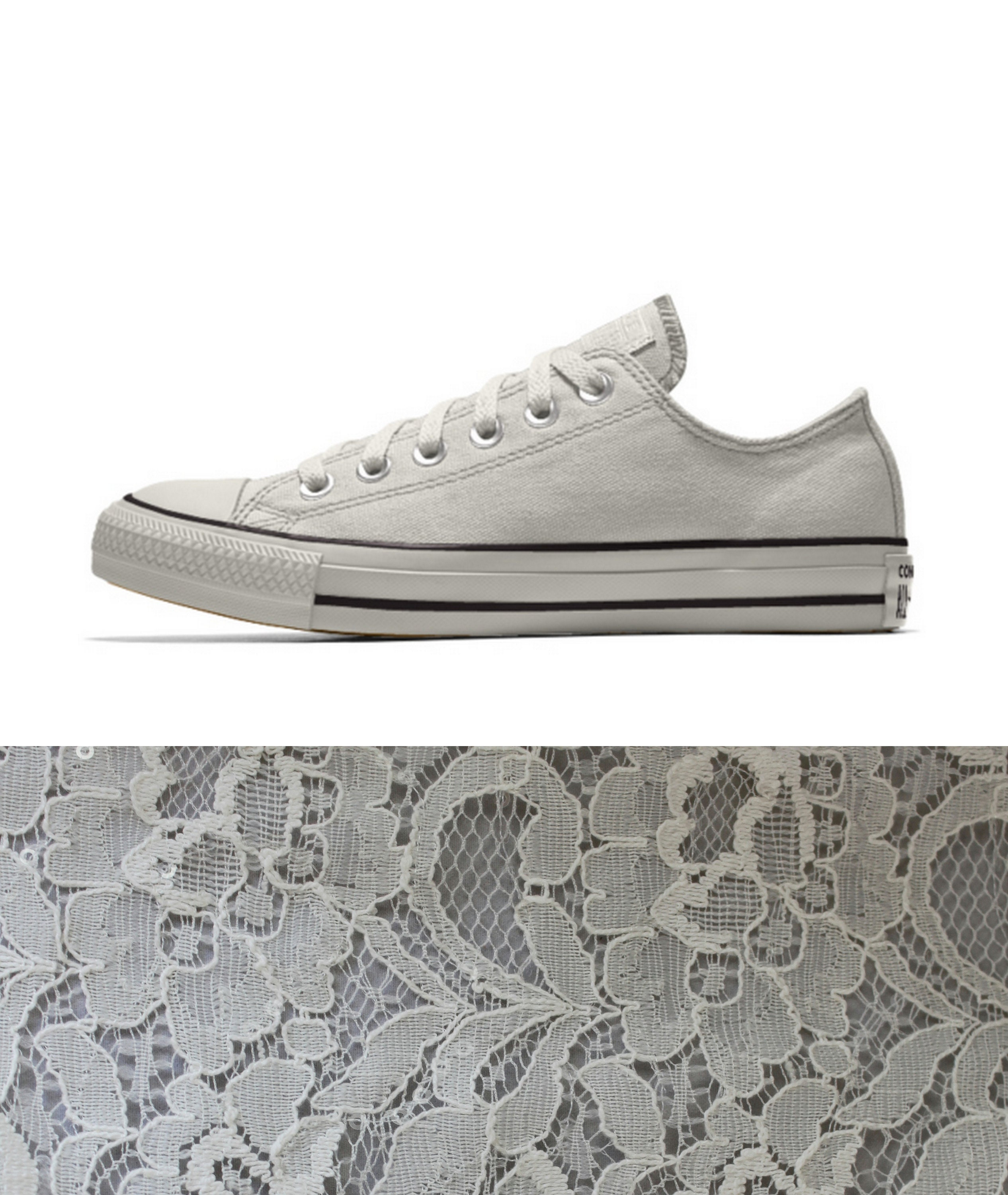40a984377a8b86 Custom Egret and Ivory Lace Bridal Converses for Kristen -- Wedding ...
