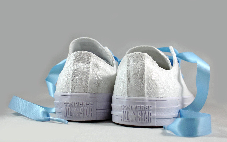 0bdc5b7c2951 White Lace Bridal Converses --Lace Light Blue Converse -- Wedding ...