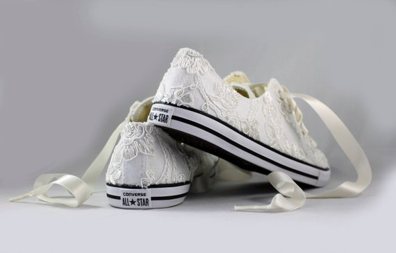 Floral Ivory Lace Wedding Converse Ivory Lace Bridal Converses Floral Ivory Lace Converse Wedding Tennis shoes