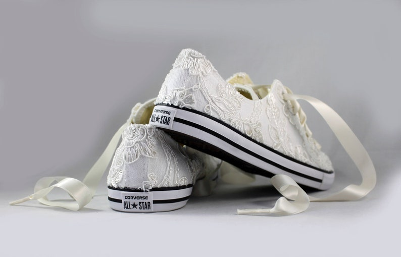 c8fc7f55d3f9 Floral Ivory Lace Wedding Converse Ivory Lace Bridal