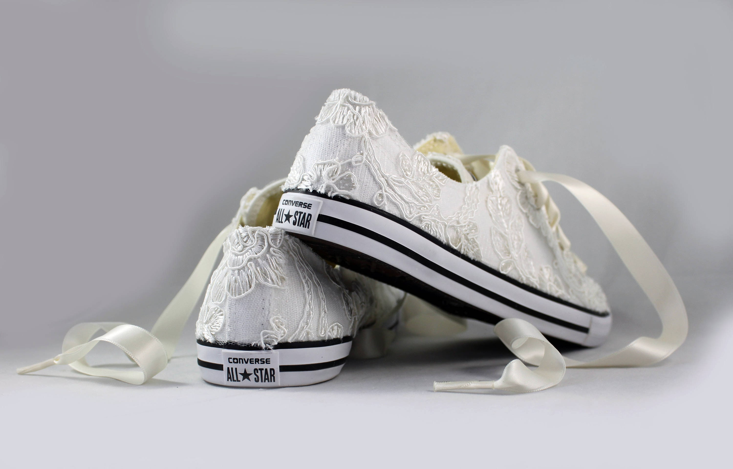 53ded190b79b2 Floral Ivory Lace Wedding Converse -Ivory Lace Bridal Converses --Floral  Ivory Lace Converse -- Wedding Tennis shoes