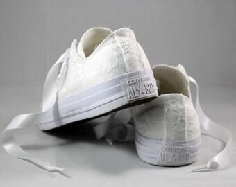 White Lace Bridal Converses  --Lace Converse -- Wedding Tennis shoes  - Wedding Converse