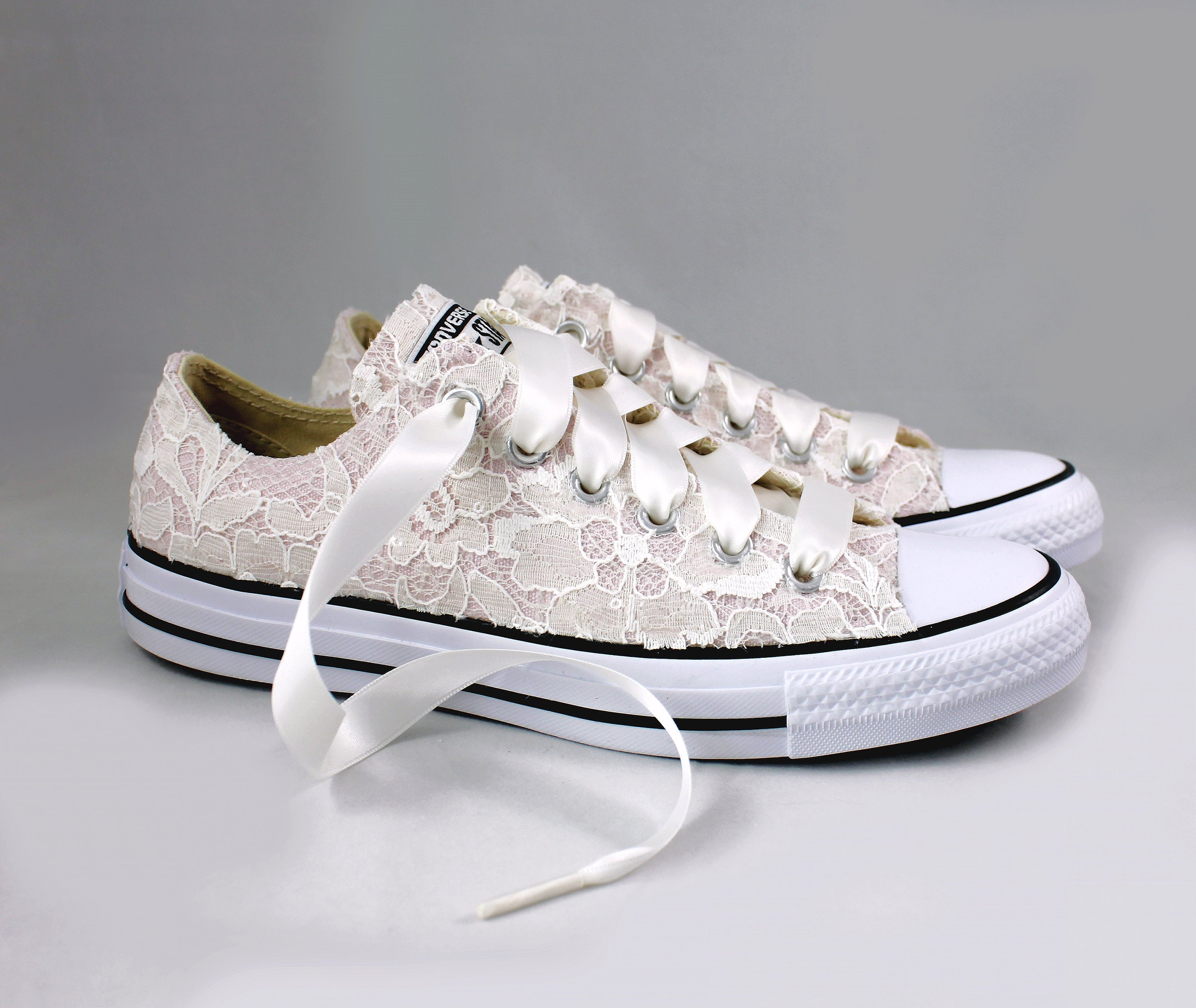 89ece716304e8 Blush Bridal Converses with Ivory Sequin Lace Converse Limited Color
