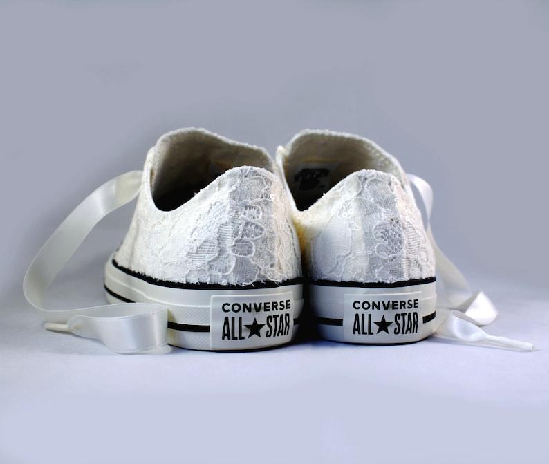 0f522fcbf0e0b Rush Size 8 Ivory Bridal Converses -- Ivory Lace Converse -- Wedding Tennis  shoes - Wedding Converse
