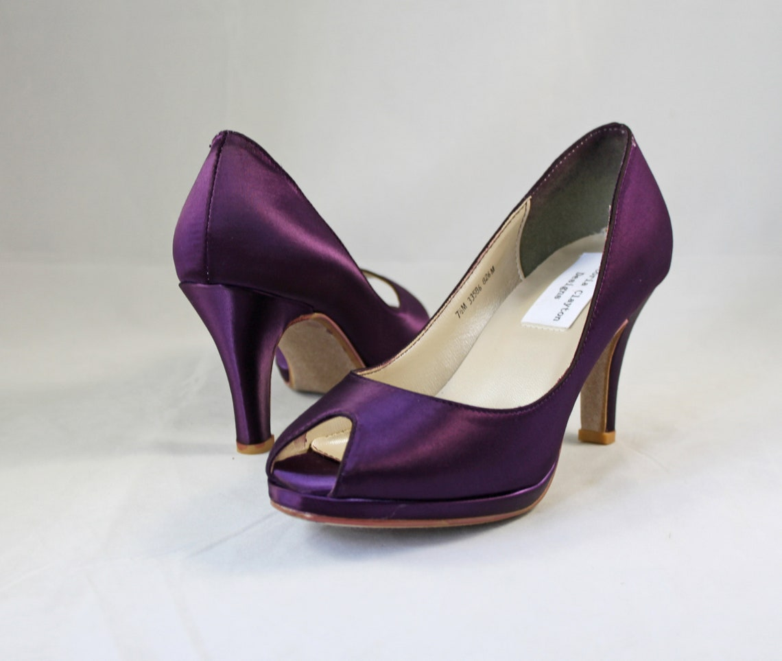 7.5 MOB Purple Wedding Shoes low heel SALE  -- 2.75 inch heel - Aubergine colored shoes Ready to ship - Eggplant shoe