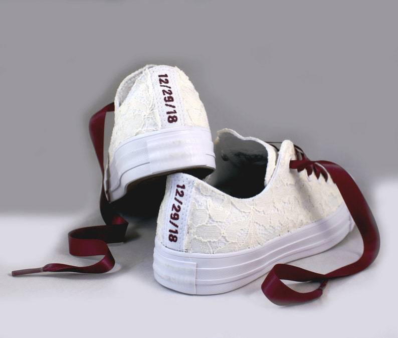 99bc2355a316 Custom Date Lace Bridal Converses Ivory Lace Wine Converse