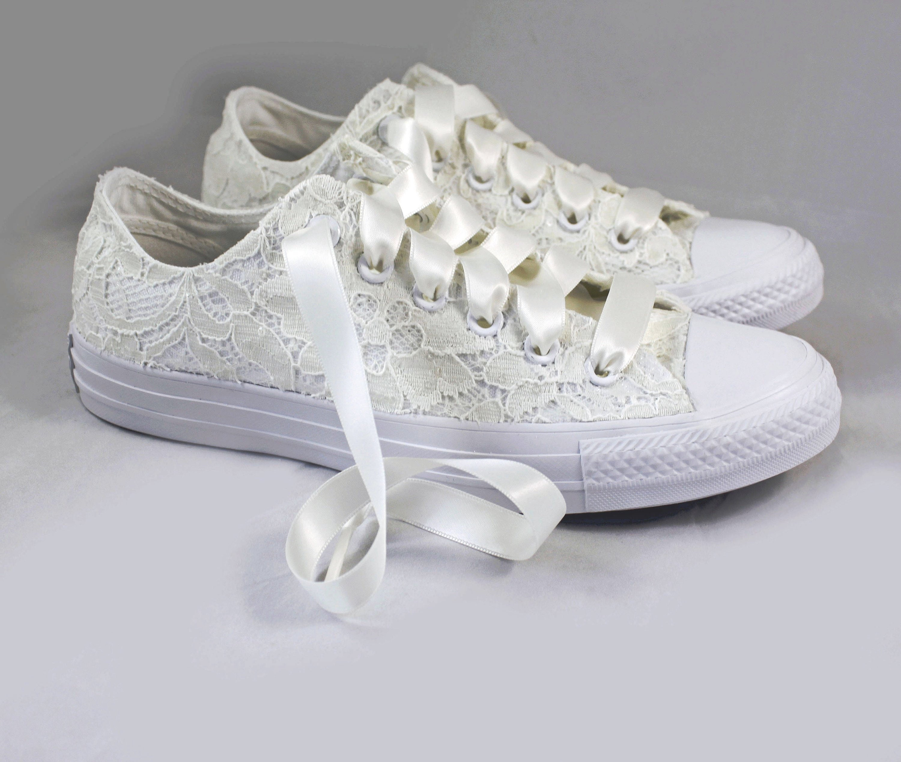 d4a1131428a2 Ivory Lace Bridal Converses -- Ivory Sequin Lace Converse ...