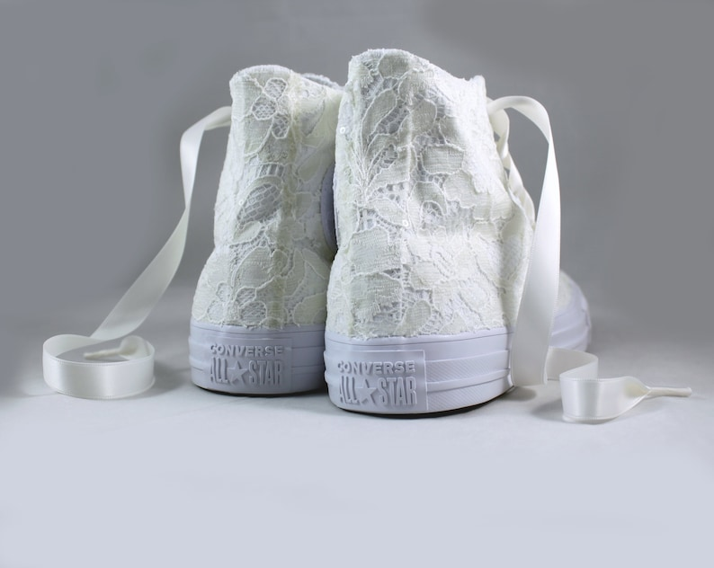 c7a43aa4738e Ivory Lace High Top Converses Bridal Converses Wedding