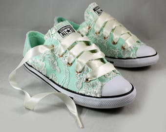 Ready to ship Ivory Lace Converses Mint Foam  Size 8--Bridal Converses size 8-- Mint Foam Wedding Tennis shoes  -- Custom Converses